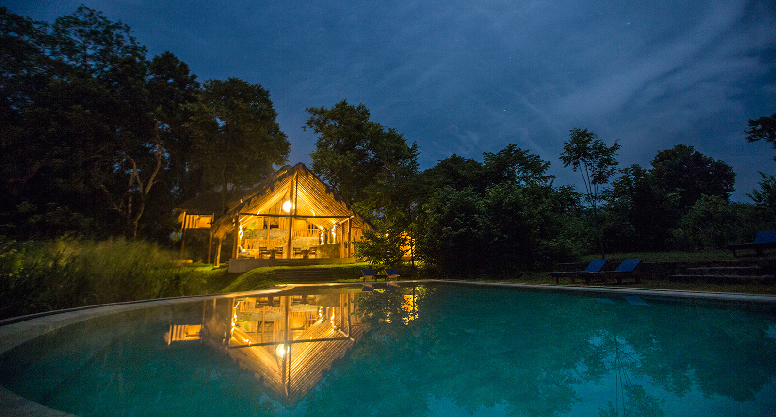 Gal Oya Lodge Swimming Pool at Night